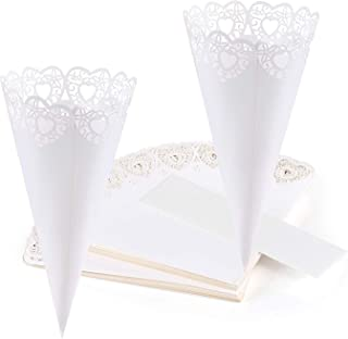 GWHOLE Wedding Confetti Cones, 100pcs Laser Cut Heart Shaped Hollow Wedding Cones Bouquet Sweets Boxes for Christmas Party...