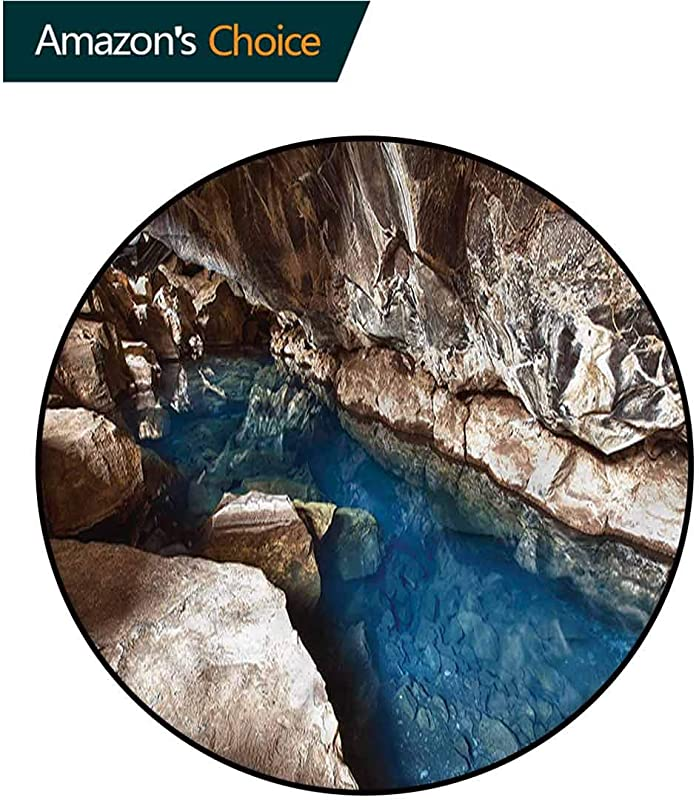 RUGSMAT Natural Cave Round Rugs For Bedroom Beach Ocean At Sunset Protect Floors While Securing Rug Making Vacuuming Diameter 71