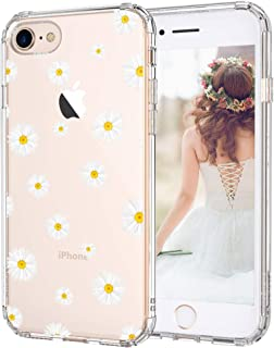 iPhone 8 Case, iPhone 7 Clear Case, MOSNOVO Daisy Floral Flower Clear Design Printed Plastic Hard Back Case with TPU Bumper Protective Case Cover for Apple iPhone 7 / iPhone 8