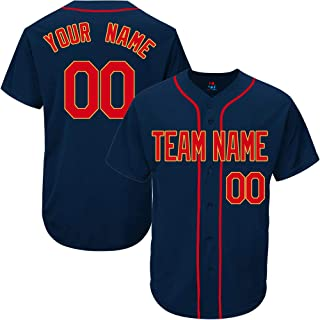 Navy Custom Baseball Jersey for Men Women Youth Throwback Embroidered Team Player Name & Numbers S-8XL - Design Your Own