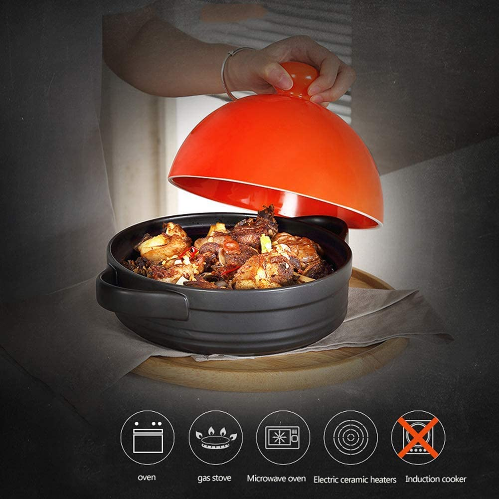 WRJY Pot de Cuisson Tajine 7,5 Pouces, Casserole Casserole poterie Soupe feu résistant à la Chaleur Lait Nouilles Pot antiadhésif Bouillie ragoût de Riz, Rouge Orange