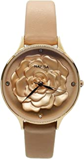 Chronomart Nafisa Women's Embossed 3D Peony Flower Rose Gold Color Case Champagne Leather Strap Wrist Watch NA-0230