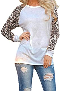 PEIZH Women Leopard Print Blouse Casual Stitching Long-Sleeved top Fashion V-Neck Patchwork Long Sleeve Tops