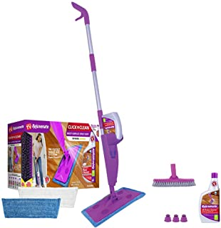 Rejuvenate Click N Clean Multi-Surface Spray Mop System Bundle Includes Free Click-On Grout Brush Two Reusable Microfiber Pads one 32oz No-Bucket Floor Cleaner …
