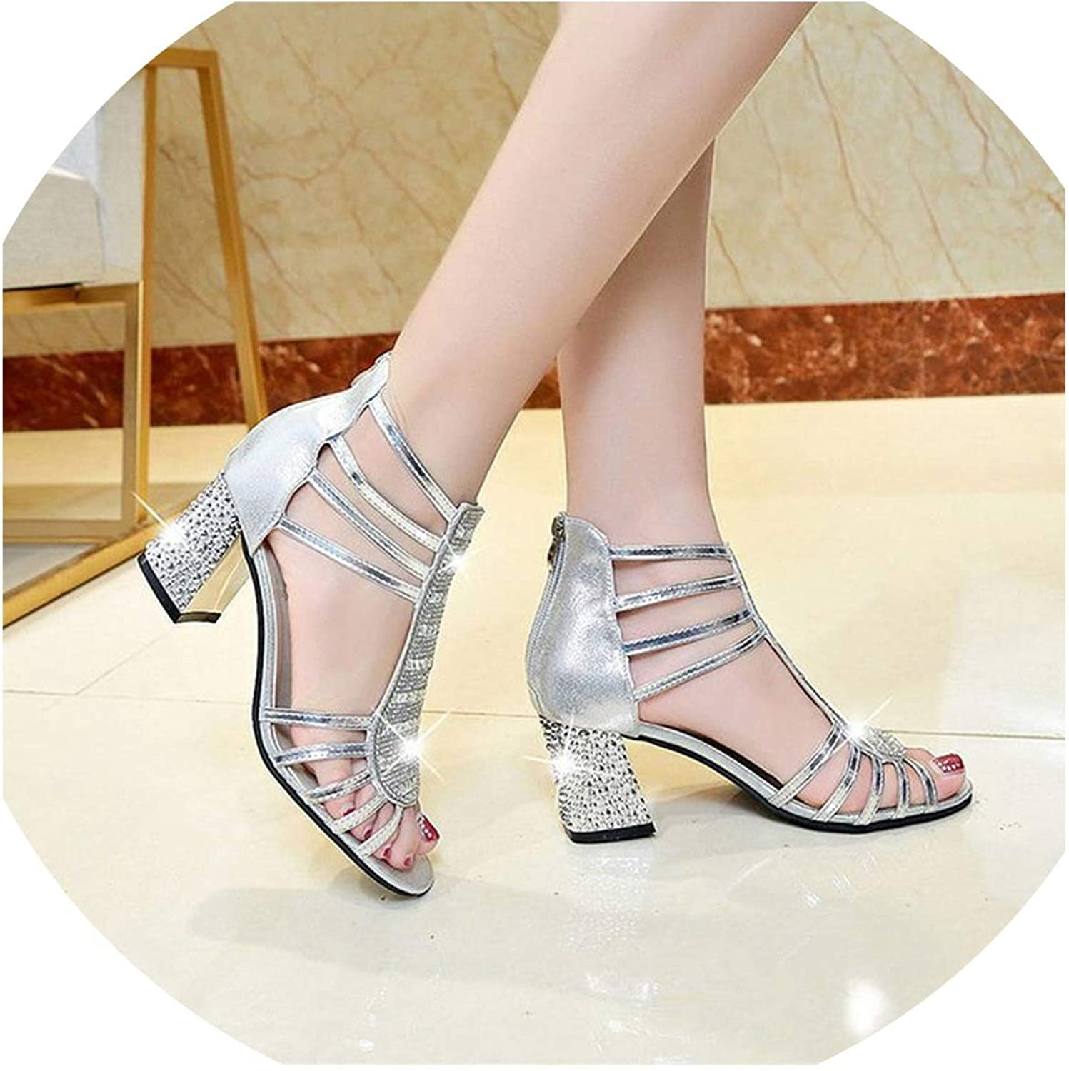 Sandals Summer Wedges Sandals Casual Roman Buckle Sandals Womens shoes Silver
