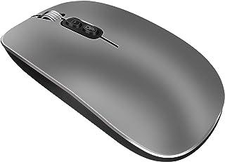 Bluetooth Kabellose Maus, wiederaufladbare, stille, ultradünne Aluminiumlegierungsrad einstellbare DPI Mause, weitgehend kompatibel mit der Verwendung für Home Office Spiele (Metallic Grau)