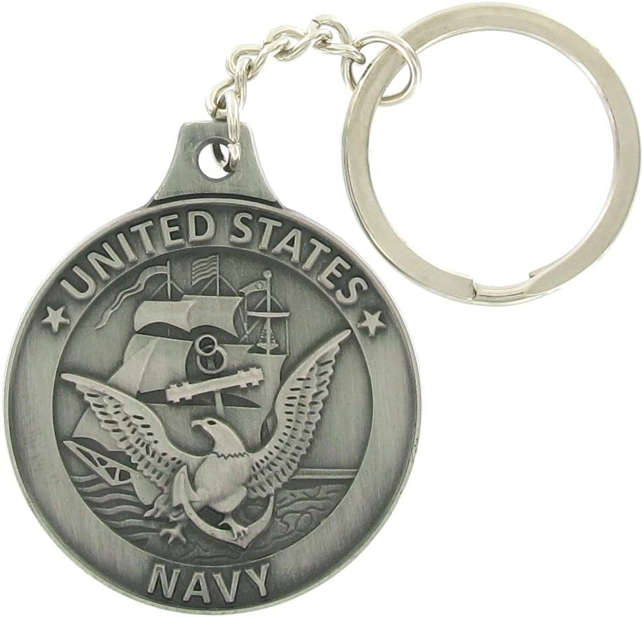 United States Navy Antique Pewter Finished Keychain with Keyring and Chain