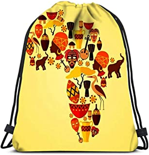 Drawstring Bags Backpack Africa Continent Jungle Ethnic Tribe Travel Concept Travel Gym Bags Rucksack Shoulder Bags