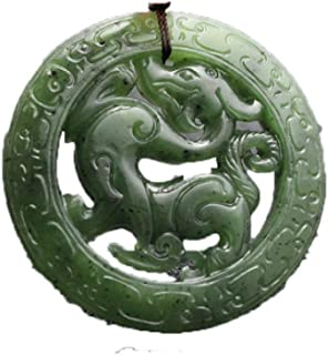 YAYOUSHEN Natural Hetian Jade Jade Necklace Pendant, Antique Dragon Pendant, Spinach Green Carved Jade Pendant Necklace