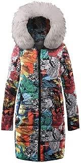 Howely Womens Parka Jacket Puffer Padded Printing Jacket Long Coats