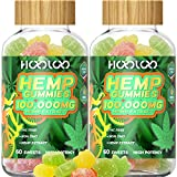 Hemp Gummies - HOOLOO 100,000MG Fruity Hemp Gummy for Relaxing, Reduce Stress Anxiety, Sleep Better - 2 Pack Natural Hemp Extract Gummies - Made in USA