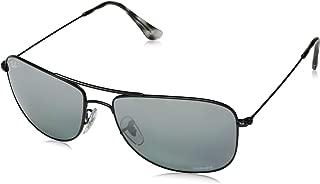 RAY-BAN RB3543 Chromance Mirrored Aviator Sunglasses, Black/Polarized Blue Mirror Grey Gradient, 59 mm