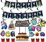 Among Us Party Supplies - Among Us Birthday Party Decoraciones Banner de feliz cumpleaños, globo, espiral, adorno para tarta para Among Us Theme Party Favor Set de suministros