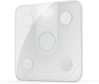 Báscula de grasa corporal 2.4 GHz WiFi Smart Escala de grasa corporal APP Remota Baño Báscula de Baño IMC Análisis de Datos con 13 Métricas de Cuerpo Digital Báscula de Peso Blanco