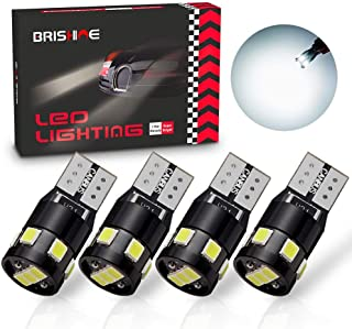 BRISHINE 300LM Extremely Bright Canbus Error Free 194 168 2825 W5W T10 LED Bulbs 6000K Xenon White 9-SMD 2835 LED Chipsets...