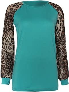 VZEXA Womens Tops Oversize Leopard Print T-Shirt Long Sleeve O-Neck Casual Sweatshirt