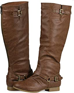 Women's Block Low Heel Knee High Boots Zipper Closure with Buckle Fashion Riding Boots