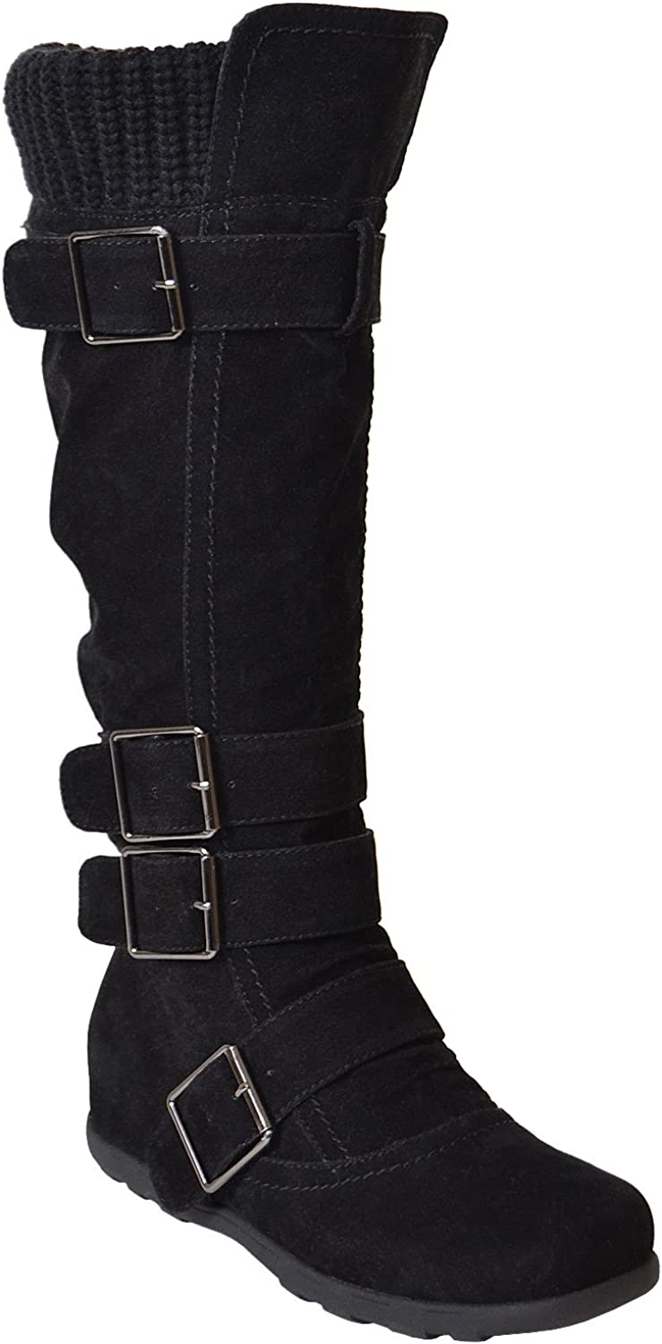 Generation Y Women's Knee-High Flat Sweater Knitted Mid-Calf Boots Cuff Buckles Rubber Sole