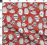 Katzen, Tassen, Küche, Rot, Linien Kunst Stoffe -