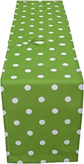 Poise3EHome 14X108 Waterproof Spillproof Rustic Outdoor Table Runner for Patios, Camping, Picnic, Afternoon Tea, BBQ, Green Dot