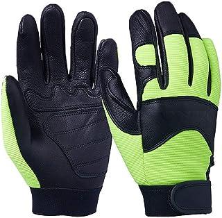 HAOSHUAI Handschoenen Buckskin Half Lederen Rijden Locomotief Fitness Motorfiets Sporthandschoenen Ridding handschoenen (Kleur : Groen, Maat : XL)