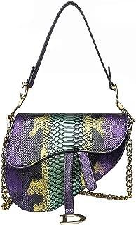 Sun Kea Fashion Snakeskin Saddle Shouder Crossbody Bag for Women Top Handle Satchel Chain Handbag Clutch Purse