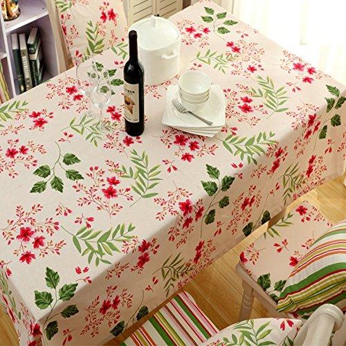 Alicemall Nappe Rectangulaire Fleurie de Style Frais Nappe Campagne Chic Lavable en Machine 140x220 cm Couverture pour Table à Thé Orientale Toile Pique-Nique Restaurant