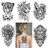 5 Sheets of 3D Flower sketch flower tiger rose bow fake tattoo stickers for female temporary tattoo waterproof black flower tattoo female art (C)