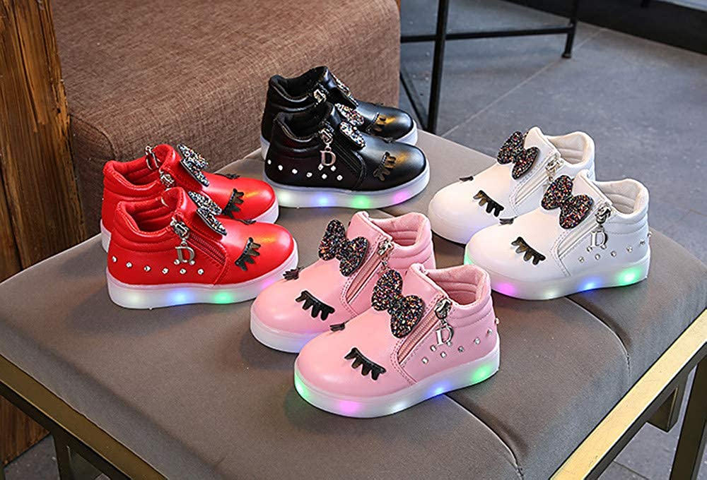 Baby Walking Shoes for 1-6 Years Old,ManxiVoo Toddler Girls Kids LED Luminous Boots Sport Shoes Sneakers