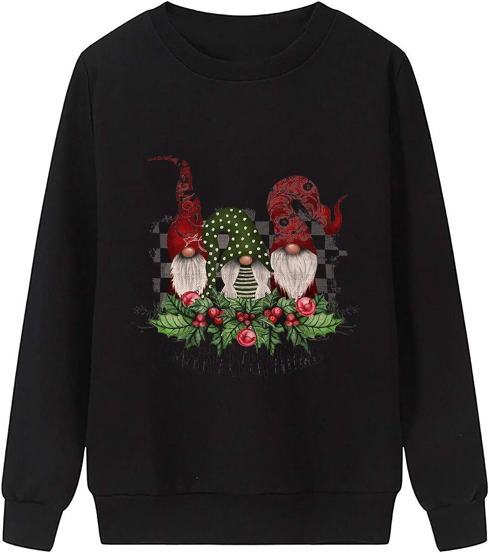 Womens Christmas Fleece Pullover Sweatshirts Holiday Vacation Graphic Tees Tops