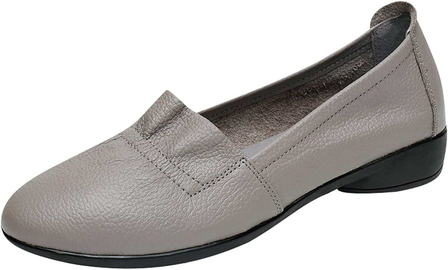 Zoulee Women's Pointed Toe Leather Driving Moccasins Flats shoes Large Size