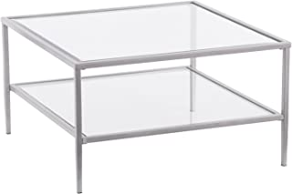 Two-Tier Glass Coffee Table - Metal Frame - Cocktail Table with Glass Top (Silver Frame)