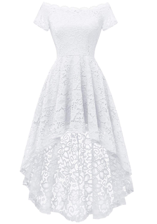 White Dress - Women's Halter Floral Lace Cocktail Party Dress Hi-Lo Bridesmaid Dress