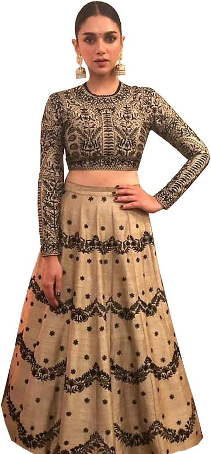 AMIT FASHIONS Exclusive Indian Designer Semi Stitch Lehenga Choli for Women's Brown
