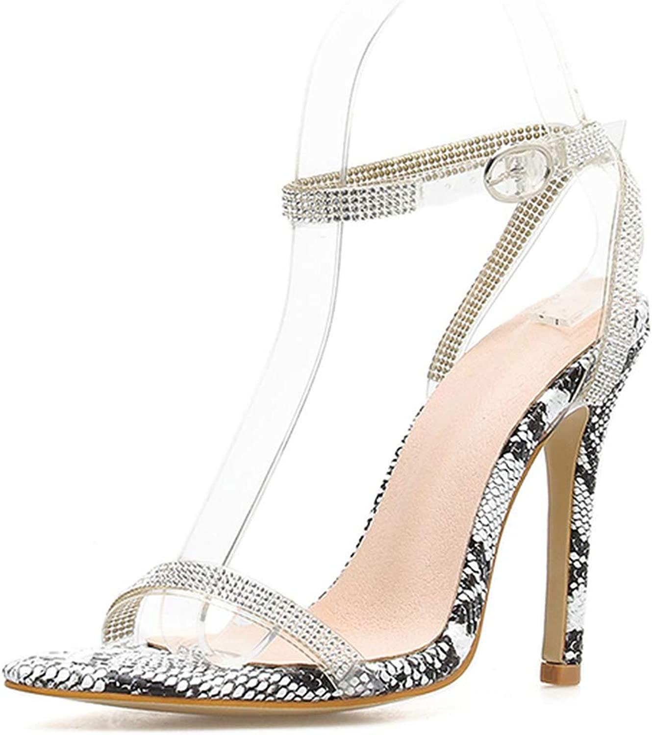 Little SU Sexy Women Sandals Open Peep Toe shoes Rhinestone Ankle Strap Buckle Closed Stilettos shoes