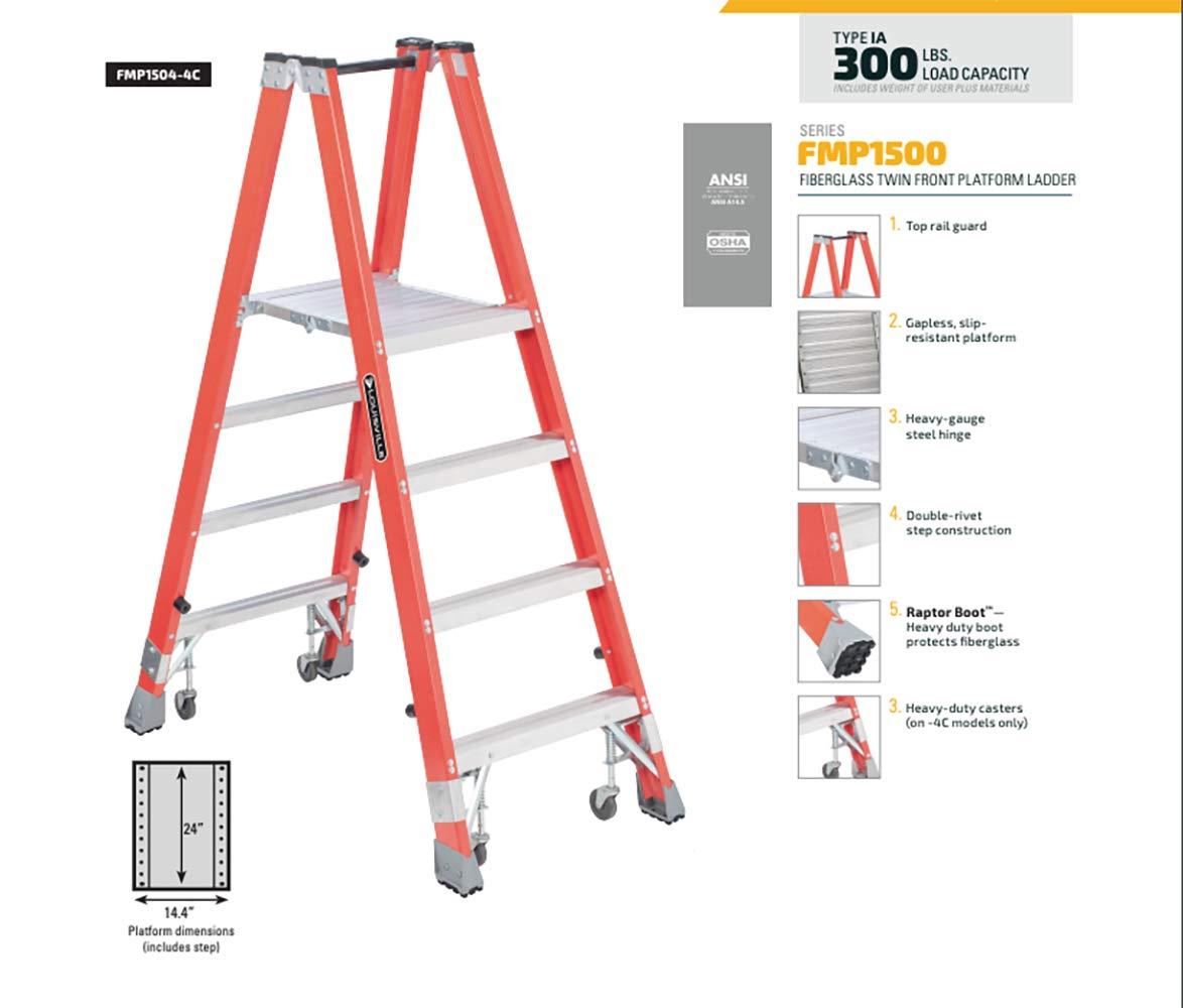 Louisville escalera fmp1504 tipo Ia Fibra de vidrio plataforma escalera con 350 kg capacidad de carga, 4 : Amazon.es: Bricolaje y herramientas