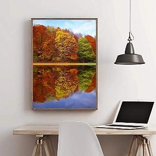 LKLKK Otoño Bosque árboles Cartel Lienzo Pintura Paisaje imágenes Decorativas decoración para Sala de Estar Pared Arte Car...