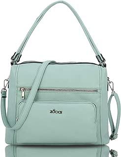 ZOCAI Hobo Shoulder Bag for Women Fashion Tote Top Handle Handbag Faux Leather Two-Tone Python or Leopard Embossed Handbag