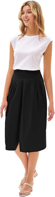 GRACE KARIN Women Ruched Summer Skirt Elastic Waist Cotton Skirt Pockets Pleated Midi Skirt with Slit