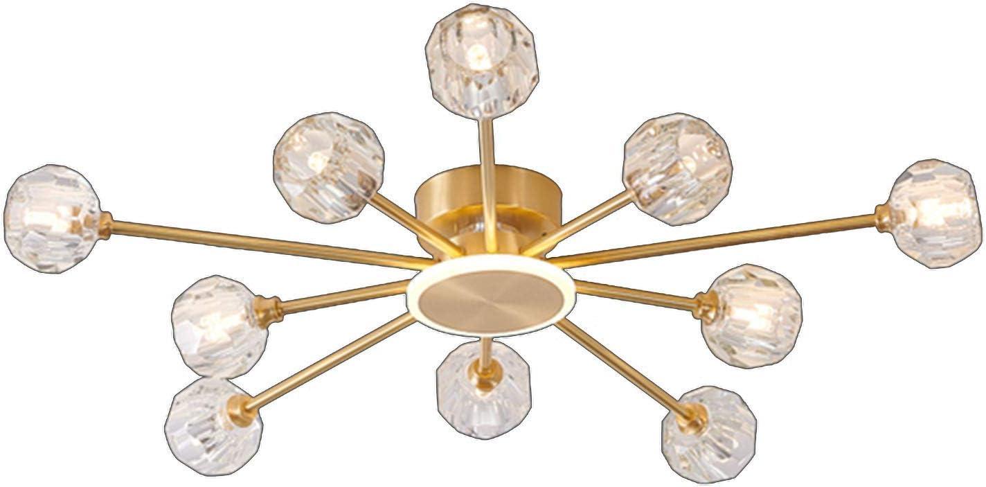 YQDSY Luces de Techo de Cristal de Latón Modernos, Lámparas Led de G9 Luz con K9 Lámpara de Cristal Shade Nordic Classic Sputnik Chandeliers Iluminación para Sala de Estar Dormitori