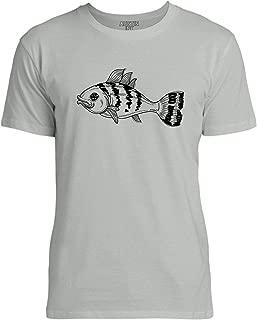 Pretty Striped Fish Print Unisex Womens Soft Cotton Tee