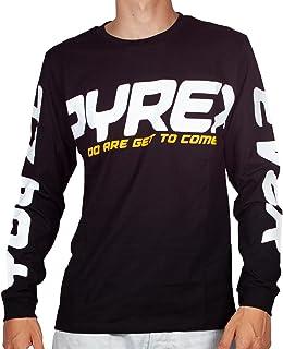 Pyrex T-Shirt Uomo Nero Girocollo Maxi Stampa sulle Maniche con Logo