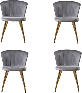 Zoyo Juego de 4 sillas de comedor de terciopelo gris tapizado para cocina, patas doradas para restaurantes en el hogar (gris, 4)