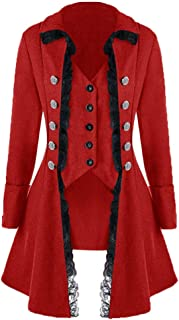 Womens Victorian Steampunk Long Coat, Medieval Vintage Tailcoat Gothic Victorian Tuxedo Halloween Jacket S-3XL