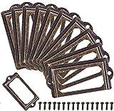 BESTZY Soporte para la Etiqueta Pomos para Muebles Vintage Titular de Etiquetas de Metal para Tarjetas Soporte para Libros Cajón Armario Archivador con Tornillos 70 x 33 mm 40 Piezas
