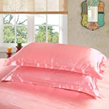 Dehman 2X 100-Percent Silky Satin Pillowcase for Hair Beauty, Prevent Side Sleeping Wrinkles, Have Good Dreams (Light Pink, Queen Size, 20X30 INCHES)