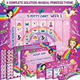 Premium Potty Chart - Our Colorful Design Will Encourage Your Child to Potty Train - Exciting Solution - Stickers + Diploma + Crown + Marker + Progress Charts + More! - Magical Princess Theme (Pink)