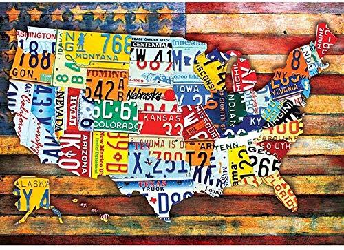 YTHK Niños 1000 Piezas Mapa de los Estados Unidos Adultos Rompecabezas clásico de Madera Rompecabezas de Juguete de Arte Creativo