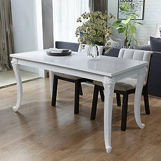 vidaXL Table de Salle à Manger Cuisine Blanc Haute Brillance Table de Cuisine