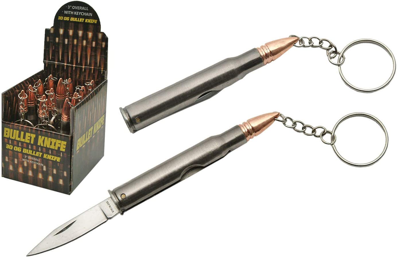 SZCO Directly managed store Supplies store 211345 Display 30-06 Bullet 12-Pie Knife Keychain
